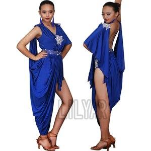Новое платье для латинских танцев платье для соревнований юбки для танцев костюмы юбка платье для выступлений блестящие стразы сапфировые ...