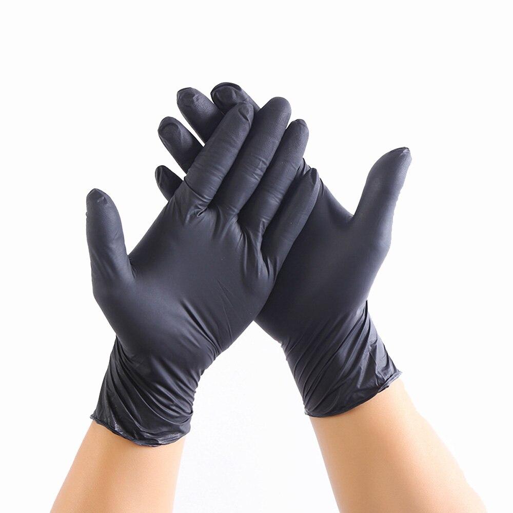 100pcs/lot Mechanic Gloves Nitrile Gloves Household Cleaning Washing Black Laboratory Nail Art Anti-Static Gloves Size XS/S/L/XL
