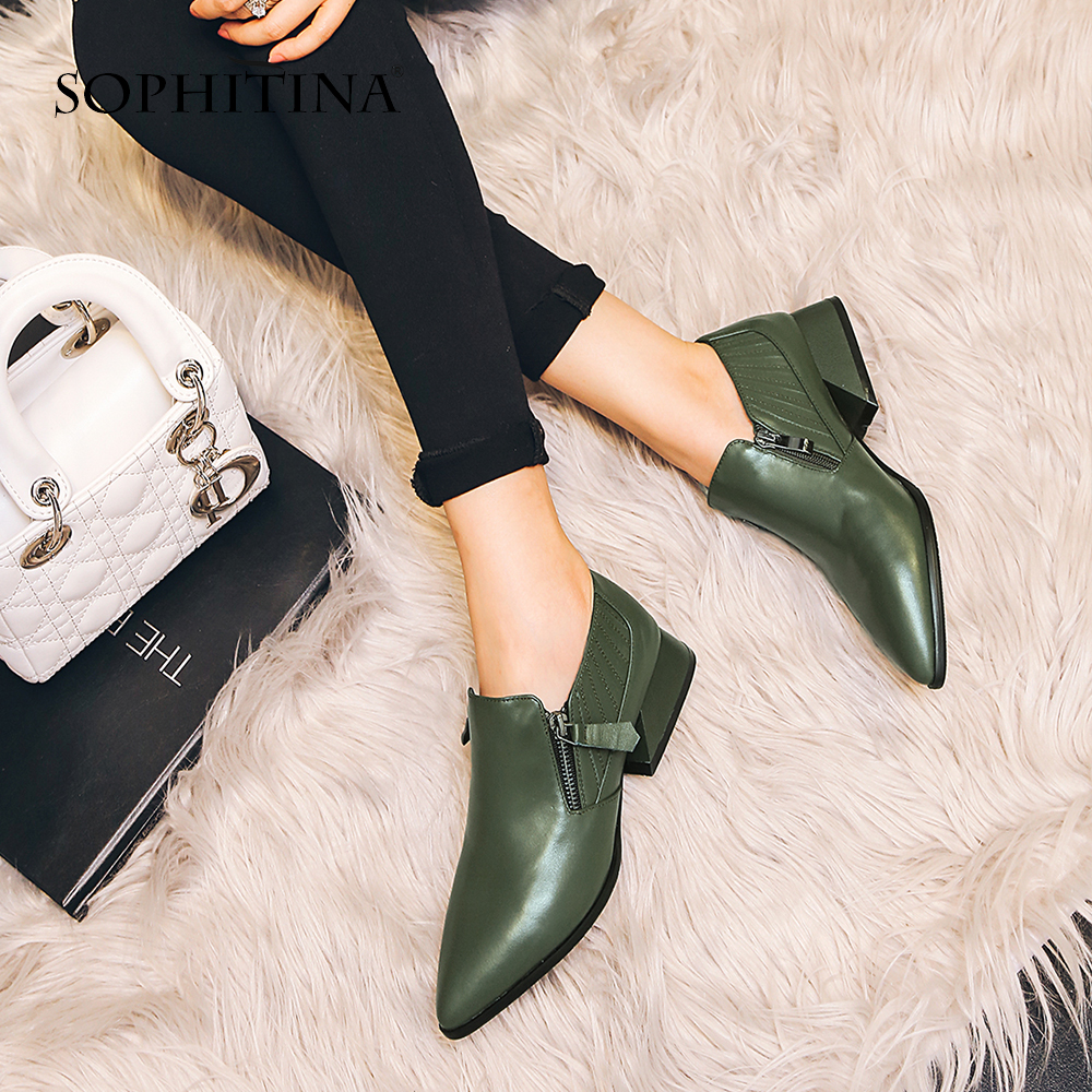 SOPHITINA 2019 Women's Basic Pumps Med Square Heel Cow Leather Pointed Toe Zipper Casual Shoes Leisure Comfortable Pumps MO34