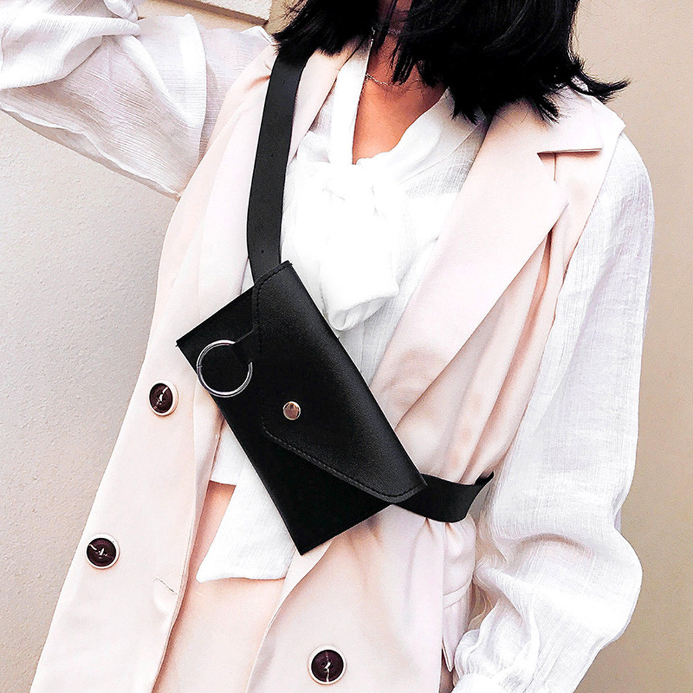 2019 Fashion Chest Bag Waist Packs Waist Bag Women Pure Color Ring PU Leather Messenger Bag Chest Packet Banquet Freeshipping