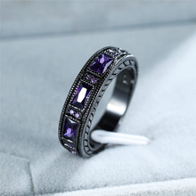 Elegant Female Purple Square Stone Ring Vintage Black Gold Wedding Rings For Women Promise Love Engagement Ring elegant purple black gold filled cz ring gold colors flowers rings unique vintage party wedding for women christmas jewelry