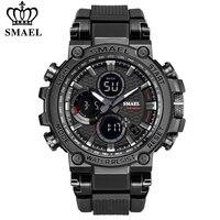 SMAEL-reloj deportivo Digital para hombre, cronógrafo de hora dual, pantalla LED