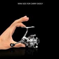 Mini portátil Metal mano intercambiable izquierda/derecha carrete de pesca rueda de pescado alta velocidad relación 4:3:1 para la pesca de primavera