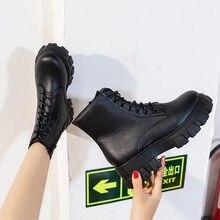 Cootelili mulher tornozelo botas plataforma dedo do pé redondo 5cm calcanhar rendas e zip sapatos de moda para mulher botas mujer plus size 41 42 43