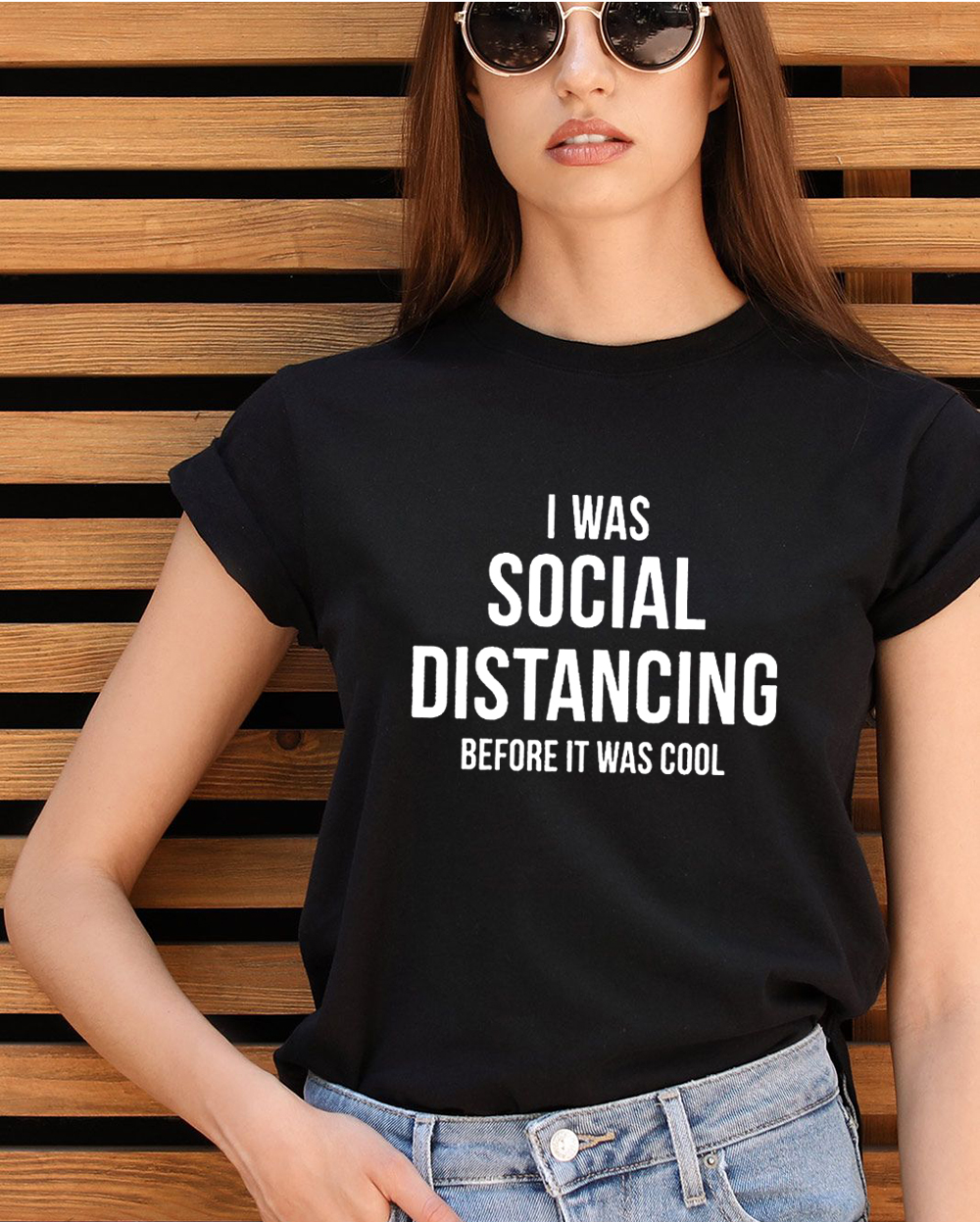 I Was Social Distancing Before It Was Cool Summer Women Short Sleeve T-shirt Female Harajuku Casual Grunge Tees Tops Camisetas