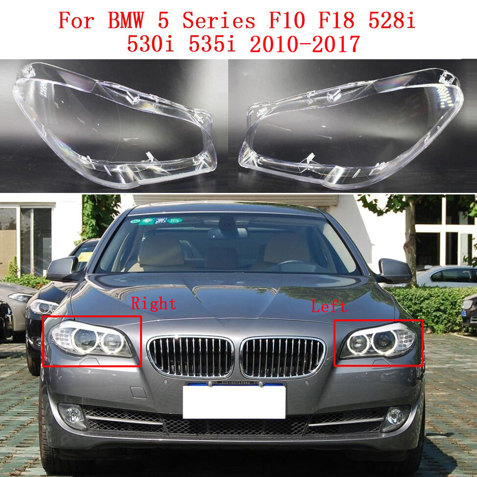 For BMW 5 Series F10 F18 528i 530i 535i 2010-2017 Car Headlight Front Lampshade Transparent Cover