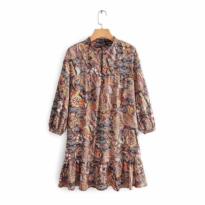 2019 New Women Vintage Flower Print Hem Ruffle Mini Dress Female Three Quarter Sleeve Casual Vestidos Agaric Lace Dresses DS2709