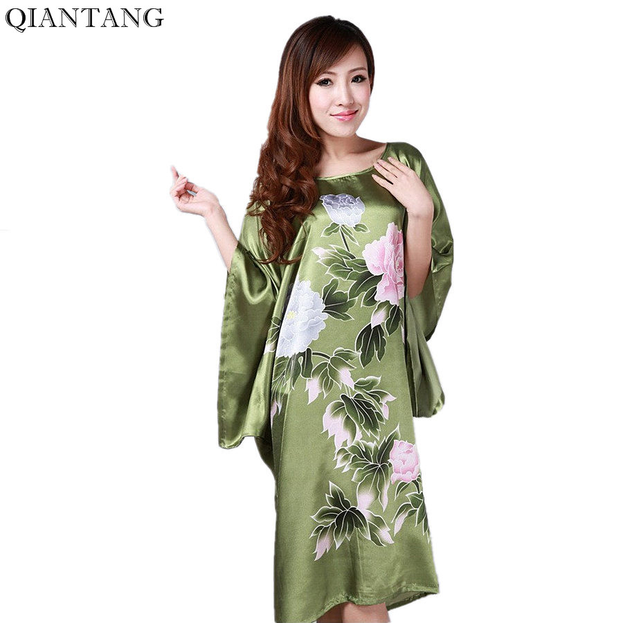 New Arrival Army Green Կանանց մետաքսե Rayon Robe Bath Gown Nightgown Sleepwear Loose Spring Spring Mujeres Pijama One Size Flower S0109