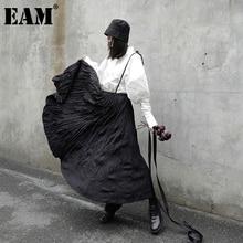 Temperament Skirt Women EAM Spring Pleated Autumn Fashion Brief Tide Waist 1DB171 Black