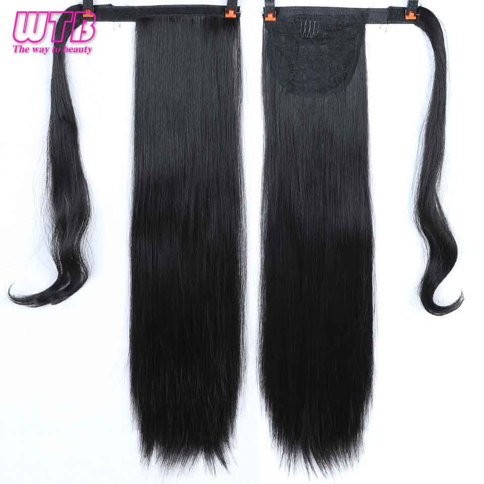 WTB 24Inches 60cm Long Straight Ponytail Hair Extension Clip In Hair Heat Resistant Synthetic False Hair Pony Tail