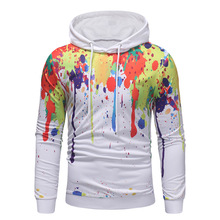 Autumn Long Sleeves Men Hoodies Personality Printing Cotton Leisure  Pullover Slimming White Size XXXL