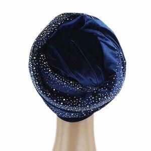 Image 3 - ผู้หญิงยาวพิเศษVelvet Turban Headbandแฟชั่นหรูหราRhinestone Head Wraps Hijabผ้าพันคอมุสลิมสไตล์ผมอุปกรณ์เสริม