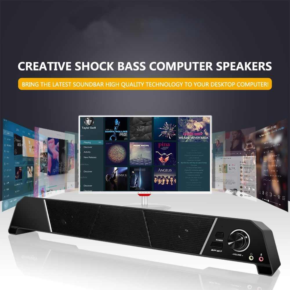 サウンドバーコンピュータスピーカーポータブル強力なテレビサウンドバーマルチメディアデスクトップスピーカーとヘッドフォン/マイク PC の TV колонка