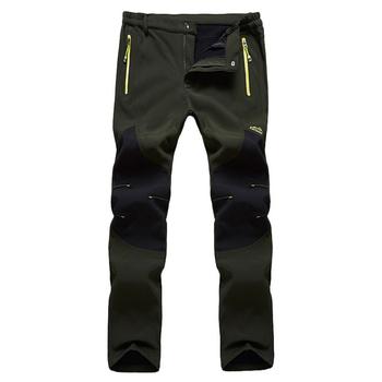 2020 męskie spodnie do wędrówek pieszych wodoodporne wiatroodporne spodnie na zimę polar wewnątrz Softshell Camping spodnie do wędrówek pieszych polar na zewnątrz tanie i dobre opinie Zipper fly Poliester spandex Pełnej długości Camping i piesze wycieczki Pasuje prawda na wymiar weź swój normalny rozmiar