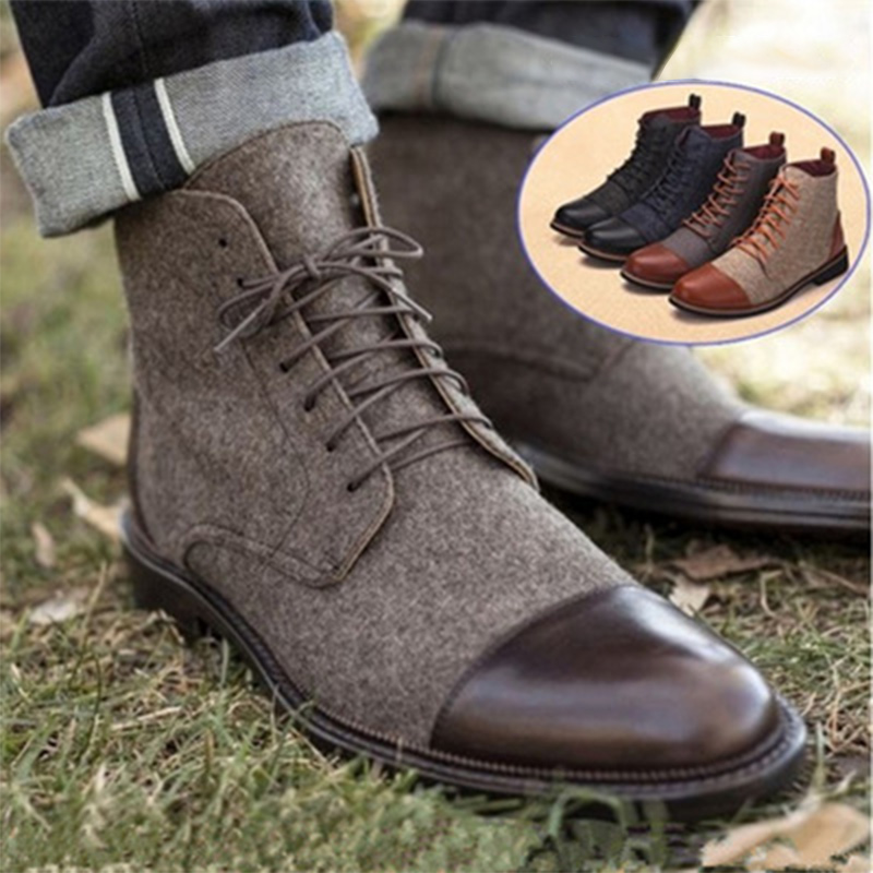 Big Size 47 48 Men Shoes Autumn Early Winter High Top Ankle Boots Pointed Toe Men Casual Shoes Fashion Style Hot Sale Men Boots