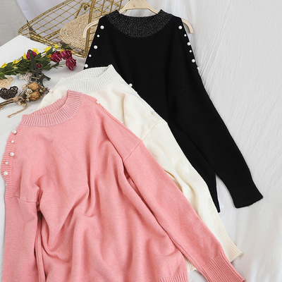 Sexy Off Shoulder Knitted Sweater Women Fashion Beaded Loose Sweater Jumper 2020 Autumn Winter O-Neck elegant Women Pullover Top