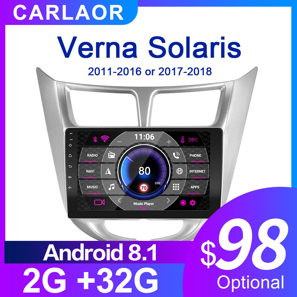For Solaris 1 2 Hyundai Accent Verna 2G   32G Car Radio 2 din android 8 1 Video multimedia Player Navigation GPS WiFi 2011-2018