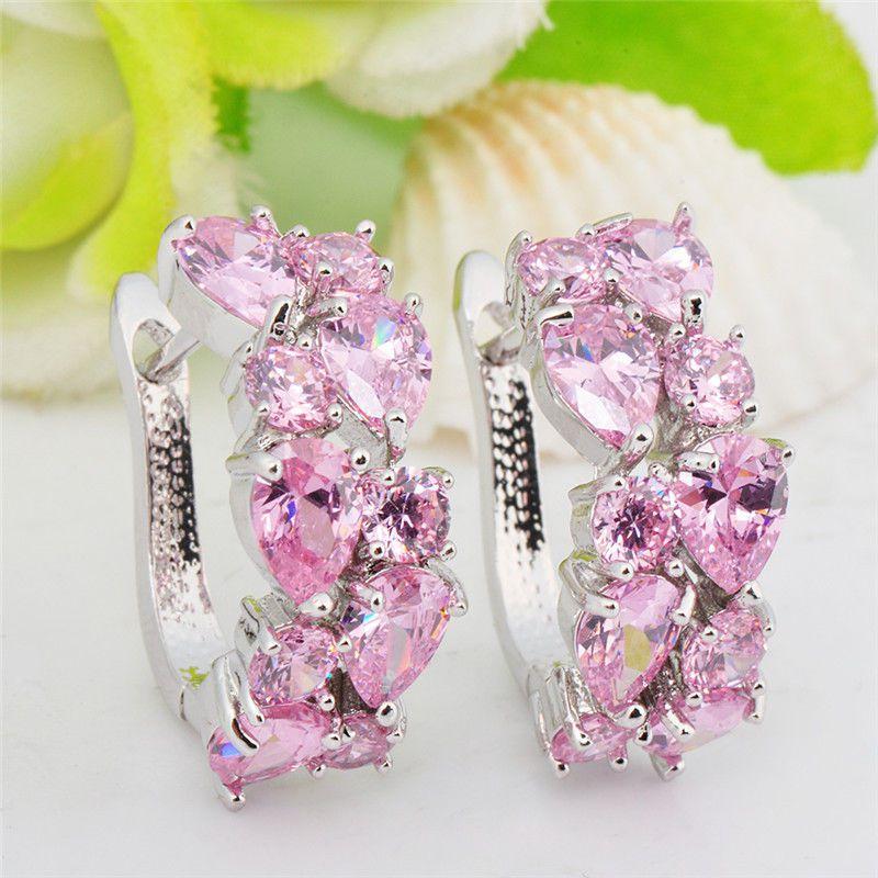 Fashion Lady Stud Earring Classic Pink Stone Earrings Jewelry For Women Water Drop Shape Earrings Aretes De Mujer Modernos 2020