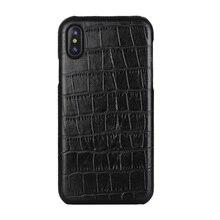 Solque funda de piel auténtica para iPhone X XS MAX XR 7 8 Plus, funda delgada de cocodrilo de lujo