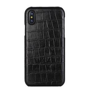 Image 1 - Solque funda de piel auténtica para iPhone X XS MAX XR 7 8 Plus, funda delgada de cocodrilo de lujo