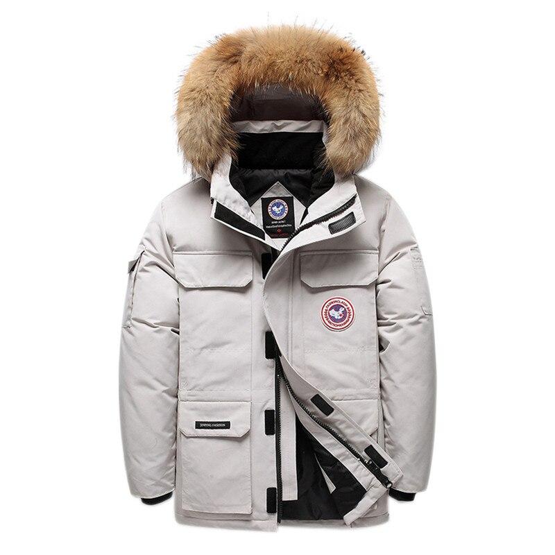Doudoune hommes épais chaud 95% duvet de canard blanc à capuche naturel col de fourrure mâle veste manteau imperméable hommes bas manteau