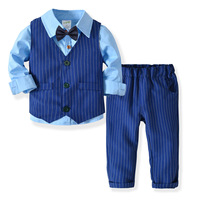 2019 New Striped Boys Wedding Suits Kids Clothes Toddler Formal Kids Suit Clothes for Kids Vest+shirt+pants Boys Outfit