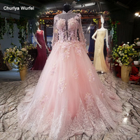 LS08871 high neck pink evening dress A line long tulle sleeves illusion lace up back simple formal party dress 2018 with flowers