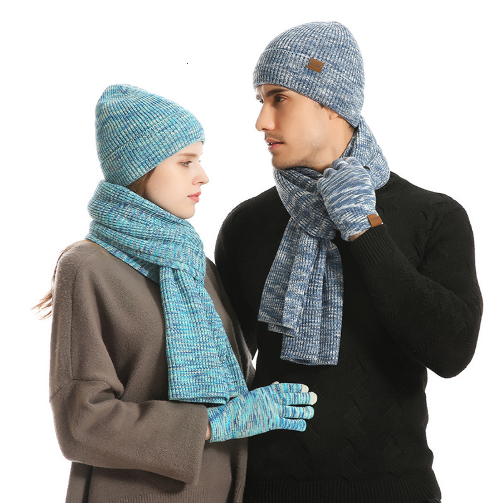 Soft Fleece Lined Stretch Slouchy Skully Striped Beanie Infinity Scarf Touch Screen Gloves Set Thick Fleece Lined Winter Hat