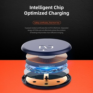 Image 5 - ROCK Double side Wireless Charger Suction Cup Fast Wireless Charging Pad Indicator Light 15W Qi Charger for iPhone XS 8 Huawei