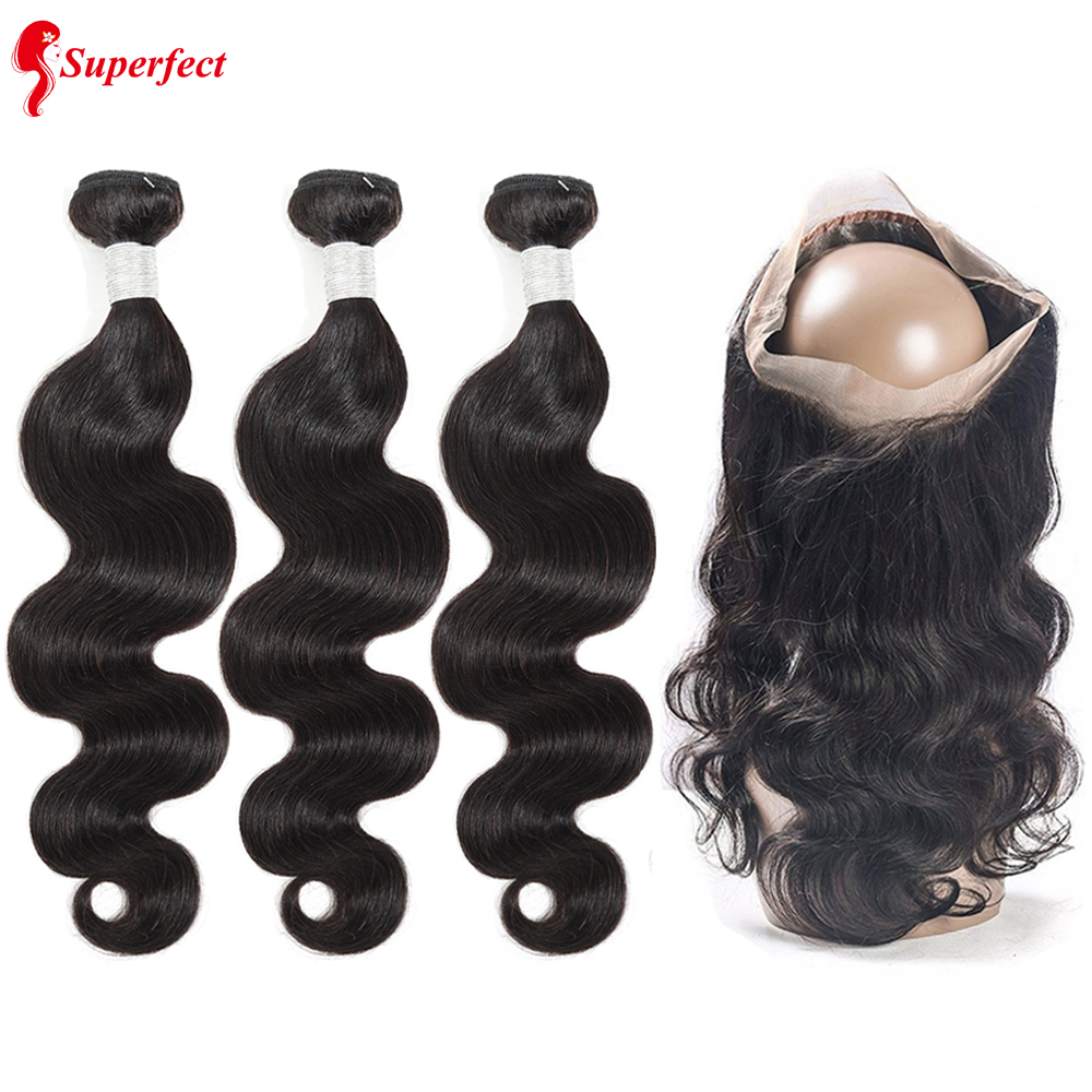 Superfect 360 Lace Frontal With Bundles Brazilian Body Wave 3 Bundles Human Hair 360 Frontal Closure With Bundles Remy Hair
