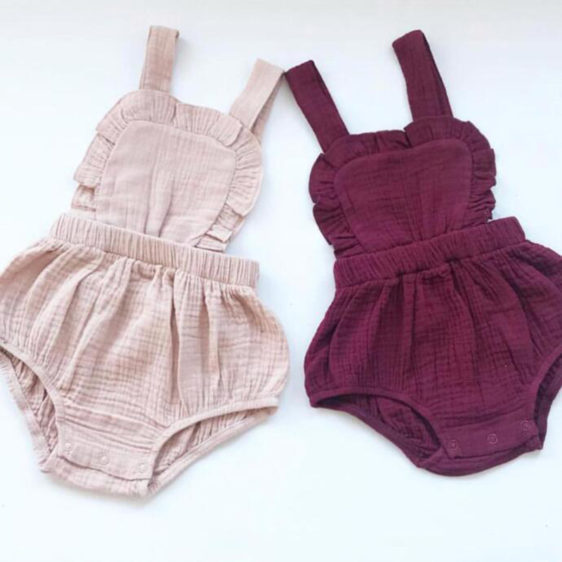 Baby Rompers Linen Lace Retro Overalls Summer Newborn Baby Boys Clothes Infantil Baby Girl Sleeveless Romper Jumpsuit 0-24M