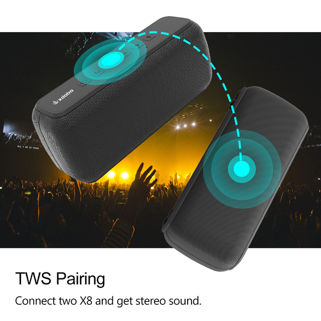 XDOBO X8 60W Portable bluetooth speakers with subwoofer wireless IPX5 Waterproof TWS 15H playing time Voice Assistant Extra bass 3