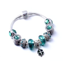 Polway Antique Silver Charm Bracelet & Bangle with Love and Clover Flower Beads for Women friendship Jewelry