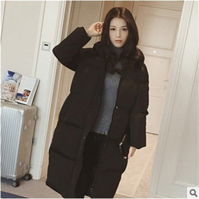 Women's Down Jacket 2019 Winter Female Jacket Fashion Hooded Long Down Coat Cotton Thick Warm Slim Warm Coat Outerwear Parkas