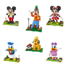 цена на Funny cartoon animal figures nanobricks duck dog Mickey Goofy Donald Minnie Daisy Pluto micro diamond building block figures toy