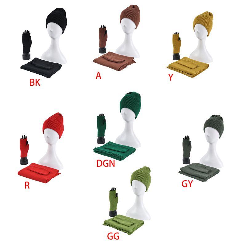 Women Men Winter Beanie Hat Long Scarf Half Finger Gloves 3 Pieces Solid Color K 2XPC
