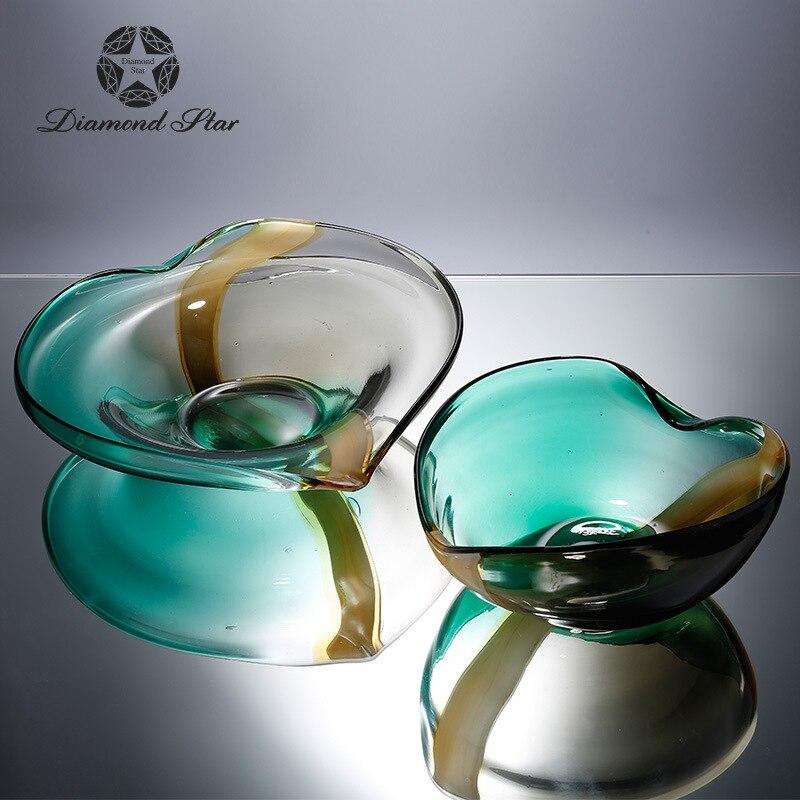 Алмазная звезда стеклянная пластина простой современный сад Двойной градиент цвета в форме сердца фруктовая чаша украшения для дома оптом