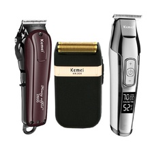 Kemei מקצועי חשמלי שיער קליפר נטענת אלחוטי שיער גוזם זקן מכונת גילוח שיער מכונת חיתוך שיער ספר חותך