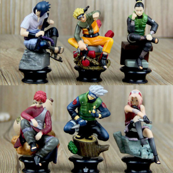 цена на 6 PCS PVC Anime Naruto Action Figures Dolls Set New Uzumaki Naruto Uchiha Sasuke Hatake Kakashi Model Collection Gift Toys