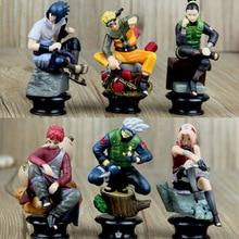 6 sztuk pcv Anime figurki akcji z Naruto zestaw lalek nowy Uzumaki Naruto Uchiha Sasuke Hatake Kakashi kolekcja modeli zabawki prezentowe
