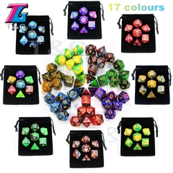 7 pces promoção 2-color dice definir efeito nebulosa poker d & d d4, d6, d8, d10, d %, d12, d20 dados poliédricos, dados de jogo rpg com saco