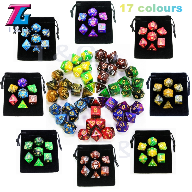 7pcs  Promotion  2-color Dice Set Nebula Effect Poker D&d D4,d6,d8,d10,d%,d12,d20 Polyhedral Dice, Rpg Game Dice  With Bag