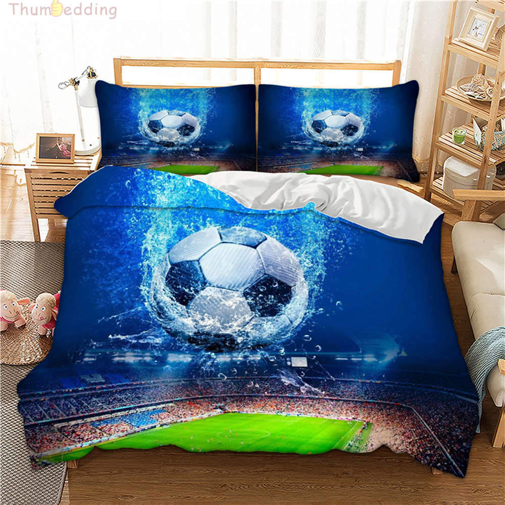 Thumbedding Sport Duvet Cover Set Football Blue 3D Bedding Set King Queen Twin Full Single Double Bed Set With Pillowcase 3pcs