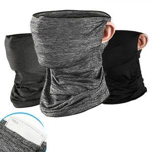 Унисекс ледяной шелк летний шейный шарф с фильтром карманные петли для ушей Велоспорт бесшовные бандана трубка Солнцезащитная маска для ли...