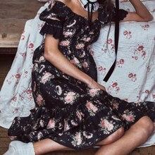 Boho Dress Vestidos Half-Sleeve Botton Party Floral-Print Ruffles Happie Queens Beach Bohemian