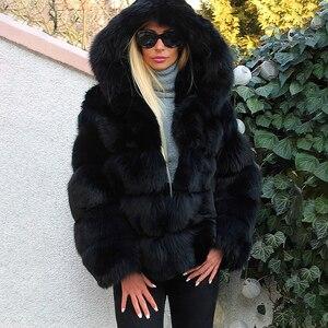 Image 4 - Moda di Lusso Nero di Spessore Reale Cappotti di Pelliccia di Volpe Con Cappuccio Per Le Donne di Pelle Pieno Breve Genuino della Pelliccia di Fox Giubbotti Donna inverno Cappotto