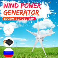 6000W Wind Power Turbines Generator 3/5 Wind Blades Option 12/24/48V With Waterproof Charge Controller Fit for Home Or Camping