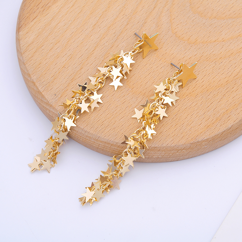 Hyperbole Gold Color Star Iron Sheets Long Dangle Earrings For Women Gifts Fashion Jewelry Wholesale