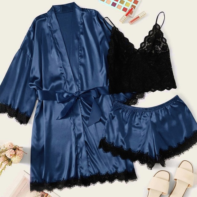 Women's Sexy Robe & Gown Sets Lace Bathrobe + Cami Top+ Shorts 3 Pieces Sleepwear Womens Sleep Set Faux Silk Robe Femme Lingerie 4