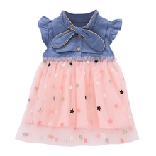 Baby Dresses Sleeveless Baby's Print Star Dress Infant Kids Girl Summer Ruffles Dress Casual Princess Party Dresses Kids Clothes kids striped and star flag print vest dress